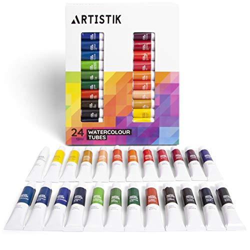 Watercolour Paint Set - Professional Watercolor Paints Set and Painting Kit for Artists Highly Pigmented and Great for Variety of Different Scenes and Mediums (Pack of 24 Tubes)