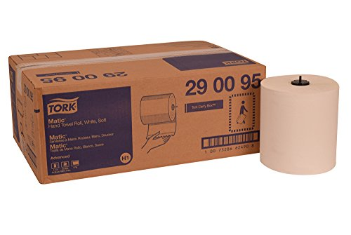 Tork 290095 Advanced Soft Matic Paper Hand Towel Roll, 1-Ply, 7.7'' Width x 900' Length, White (Case of 6 Rolls, 900 Feet per Roll, 5,400 Feet) by Tork