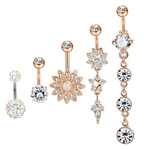 Hanpabum 5Pcs 14G Surgical Stainless Steel Dangle Belly Button Rings for Women Girls CZ Navel Rings Body Piercing Jewelry (B:Rose-gold Tone)
