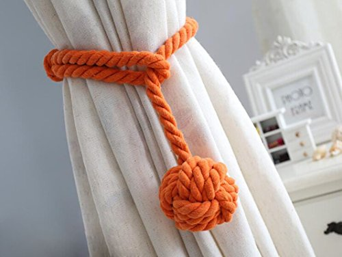Gear Assembly Back - 2 Pieces Fine Hand Tied Curtain Clip, Buckle Holdback Fabric Drapery Tassels Curtain Tiebacks / Tassel Window Cotton Rope Tie Ball Back Accessories (Orange)