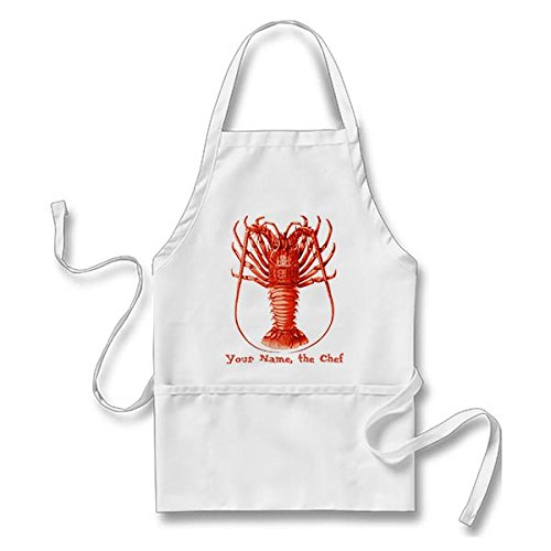 大人用サイズエプロンキッチンエプロンSpiny Lobster Personalizedヴィンテージシェフエプロンポケット付き、グリルエプロン、Bakingエプロン   B076FR8G78