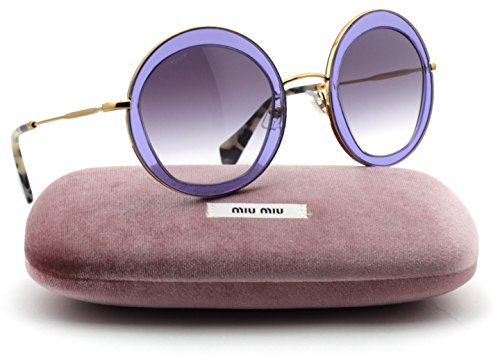 Miu Miu MU 50QS Pentogonal-Shaped Metal Women Sunglasses (Transparent Lilac Frame, Violet Gradient Lens - Noir Miu Miu Sunglasses Round