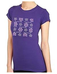 SAVANNAH FLOWER Rhinestone/stud Womens T-Shirts