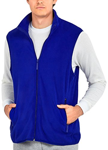 ToBeInStyle Men's Zip Up Sleeveless High Collar Polar Fleece Vest (2XL, Royal Blue) (Sleeveless High Collar)