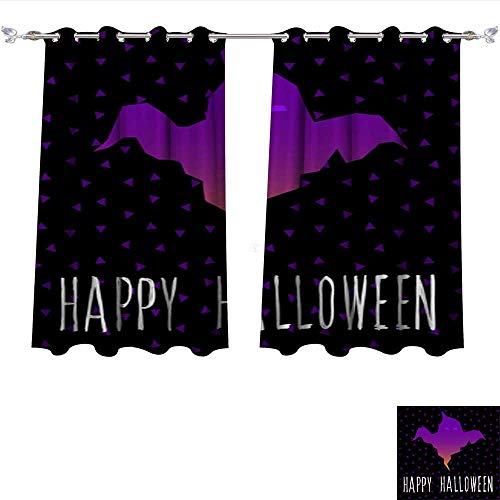 DragonBui Thermal Insulating Blackout Curtain Happy Halloween Card Template Abstract Halloween Pattern for Design Card Party Invitation Poster ALB Pocket Insulated Tie Up Curtains W63 x L45/Pair ()