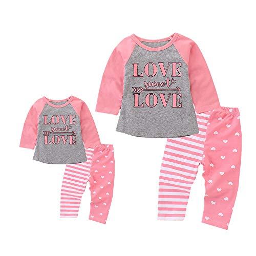 Baby & Toddler Kids Girls Matching Pajamas Cotton Long Sleeve Sisters Pjs Set (Toddler 4-5Y - 1Set, Pink)