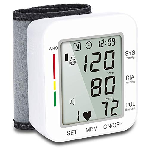 Wrist Blood Pressure Monitor (120 Reading Memory) Automatic Cuff Digital Health Monitor with Voice Broadcast and Large Display Screen for Senior Home Use