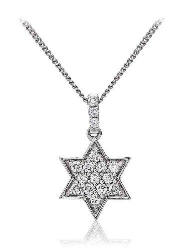 0.25CT Certified G/VS2 Round Brilliant Cut Star of David Shape Diamond Pendant in 18K White Gold