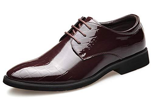 Freizeitschuhe Schuhe Hochzeit Shiney Kleid Lace up Brown 2018 Lackleder Business Herren Schuhe UwvFqY