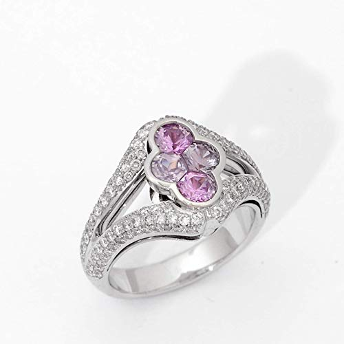 - 18k white gold Two Tone Pink and Purple Sapphire Invisible Setting Diamond Ring