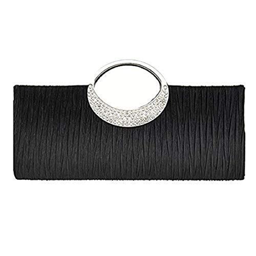 EROUGE Womens Rhinestone Satin Pleated Handbag Luxury Wedding Party Purse Evening Clutch (Black)