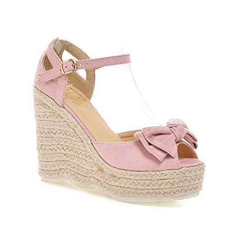 AllhqFashion Women's Imitated Suede Solid Buckle Peep Toe High-Heels Sandals Pink 7nZIJuH