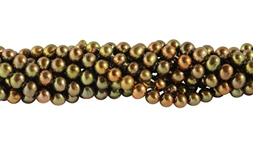 2 Strands 15 1/2 Inch 5-5.5 mm Golden Olive Color Potato Freshwater Pearls