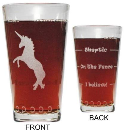 (Unicorn Drink 'Till You Believe - 360 Degree Engraved Beer Pint - 16 oz - Permanently Etched Around Glass and Bottom - Fun & Unique Gift!)