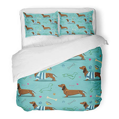 Emvency Bedding Duvet Cover Set Full/Queen (1 Duvet Cover + 2 Pillowcase) Colorful Animal with Dachshund Blouse Bone Canine Cute Cute Dog Dog Hotel Quality Wrinkle and Stain - Celebrity Comforter Set