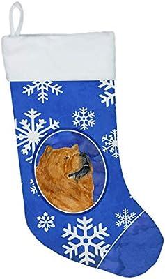 Multicolor Carolines Treasures SS4640-CS Chow Chow Winter Snowflakes Christmas Stocking 11 x 18
