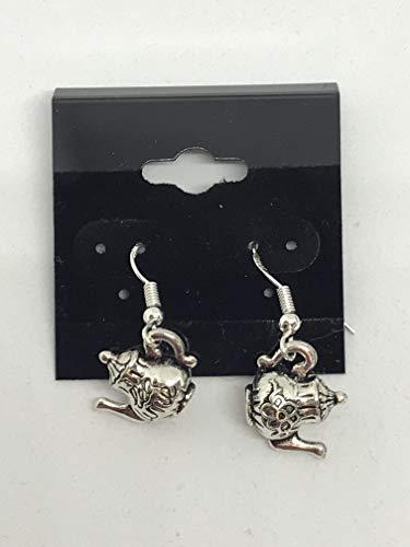 Teapot Dangle - silvertone 3d teapot charm dangle earrings with sterling silver hooks
