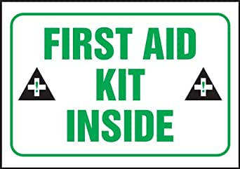 Accuform MFSD965VS Adhesive Vinyl Safety Sign 14 Length x 10 Width x 0.004 Thickness LegendEMERGENCY FIRST AID STATION with Graphic Green//Black on White
