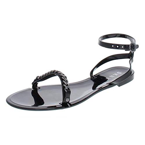 DKNY Womens Moana Open Toe Casual Ankle Strap Sandals, PVC Black, Size 9.0 (Dkny Dress Women)
