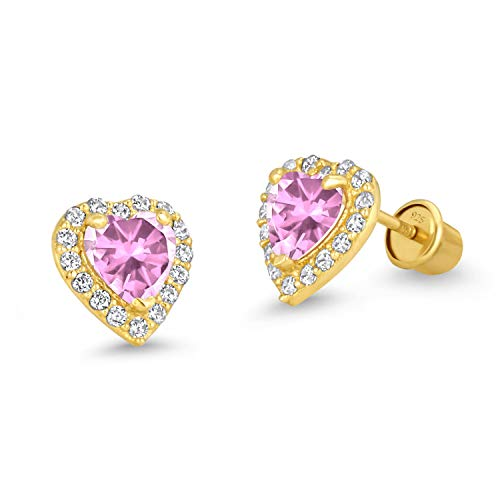 14k Gold Plated Brass Pink Heart Screwback Children Earrings with Sterling Silver Post