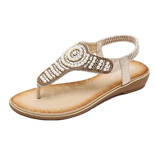 Peep Zapatos Romanas Flip Zapatos Se Bajos Flops Dorado del Pie Sandalias Bohemia Sandalias oras Dedo Mujeres 5XwBq