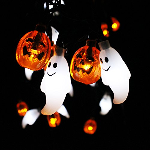 Joiedomi Halloween String Light Decoration Solar Powered Ghost and Pumpkin Shaped LED String Light - 19.7 Feet Long, 30 LED, Warm/Cool (Orange/White) Color (Halloween Solar Lights Decorations)