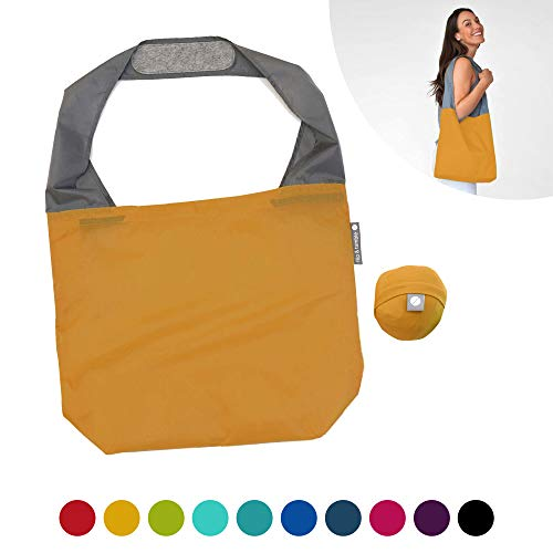 FLIP AND TUMBLE 24-7 Premium Reusable Grocery Bag - Perfect Shopping Bag, Beach Bag, Travel Bag (Ochre)