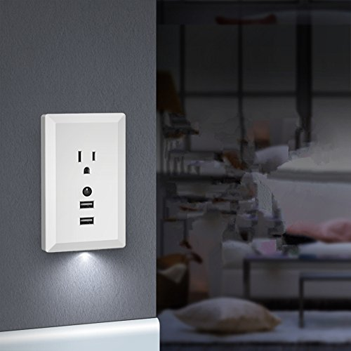 KING-LINK USB Outlet, Wall Mount Socket Plug Dual 2.4A USB Ports Adapter Outlet Charger with Night Light Sensor Control ()
