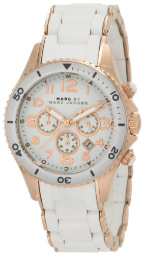 Marc by Marc Jacobs White Dial SS Rubber Chrono Quartz Ladies Watch MNM2547 (White Polished Dial)