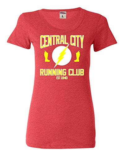 Small Light Red Womens Central City Running Club Tri-Blend T-shirt (City Light Womens T-shirt)