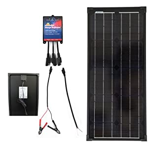 Plug-n-Power SuperBlack 30w Solar Panel Charging Kit for 12v Off Grid Battery - next day free shipping from U.S.