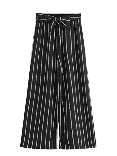 (SweatyRocks Women's Striped Palazzo Pants Elastic Waist Casual Wide Leg Pants Black White Small)