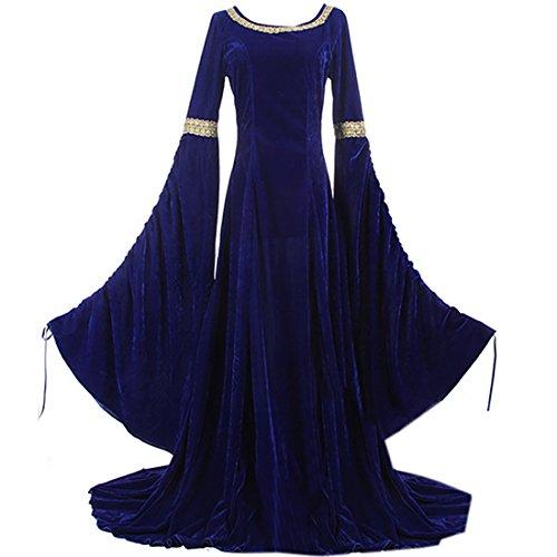 Elizabethan Queen Adult Plus Costumes (Partiss Womens Vintage Renaissance Medieval Costume Holloween Floor Length Dress,XL,Blue)