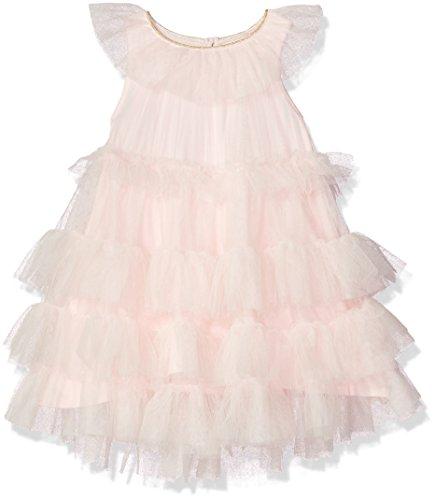 (Mud Pie Baby Girls Mesh Tiered Sleeveless Dress, Pink, 12-18 Months )