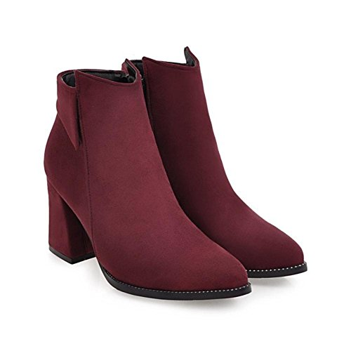 NVXIE Women's Ankle Short Boots Suede Pointed Toe Rough Heel Black Brown Fall Winter Party Work WINERED-EUR39UK665