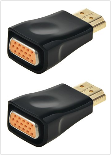 LoveCam HDMI to VGA Adapter Converter Male to Female Gold-Plated 4K HDMI VGA Adapter for TVBOX, Desktop, Projectors, HDTV - 2 Pack by LoveCam