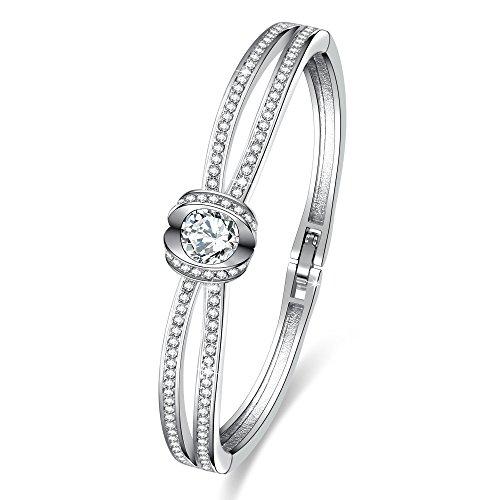 """California Grace""Women Charm Bangle Bracelets with Swarovski Crystals Christmas Birthday Wedding Anniversary Gifts for Girls Wife"