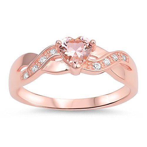Pink CZ Criss Cross Heart Promise Ring New .925 Sterling Silver Band Size - Rings Pink Promise