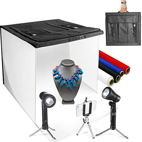 LimoStudio 16quot x 16quot Table Top Photo Photography Studio LED Lighting Light Tent Kit in a Box Photo Background Shooting Tents AGG349