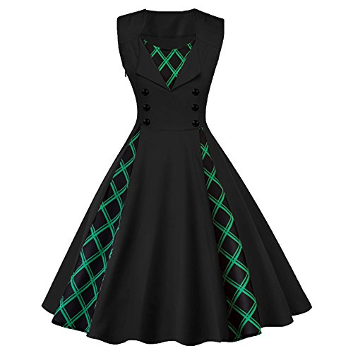 Swing amp; Dress Black Lattice Flare Hepburn US Asian Audrey Tag S Formal S Retro Style Stitch Topfly Black Fit Ppx14qzqU0