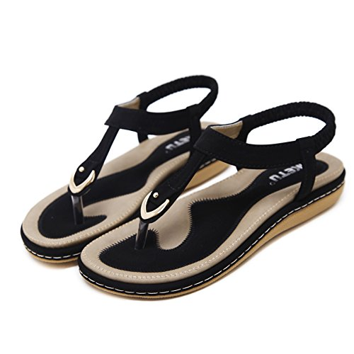 Pictures of Wollanlily Women Summer Beach Flat Sandals T- 5