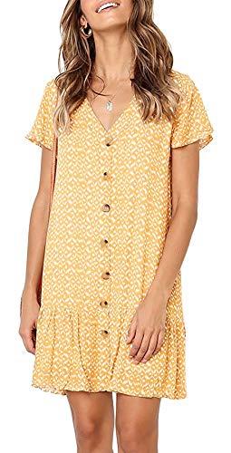 PinUp Angel Yellow Floral V Neck Button Down Ruffle Shift Loose Mini Short T-Shirt Dress