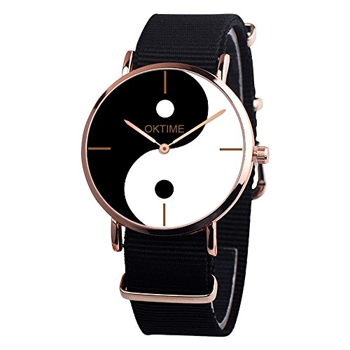 Quartz Watches Yin-Yang Big Face Eight-Diagram Tactics Casual Pointer Alloy Analog Wrist Watch Teen Girls Fashion Round Watches, Women Watches on Sale Clearance (Black) ()
