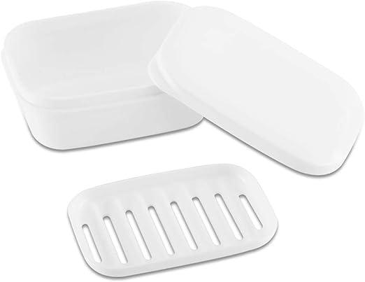 Portable Soap Dish Waterproof Transparent Holder Plastic Drain Double Soap Case