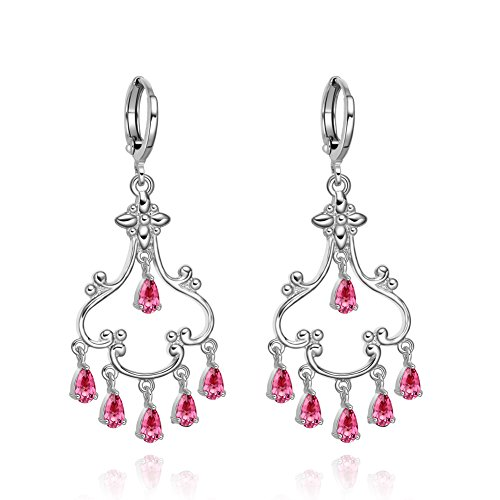delier Cross Accent and Reddish Pink Silver-Tone Sparkling Crystals Charms Earrings (Beautiful Crystal Cross Earrings)