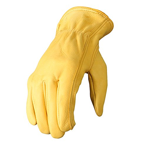(Hot Leathers Deerskin Leather Driving Gloves (Gold, X-Large))