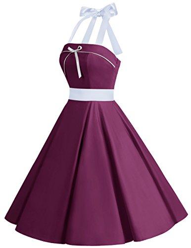 Dresstells® Vestido Mujer Corto Lunares Halter Retro Vintage Rockabilly Burgundy