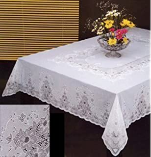 Tablecloth, Vinyl Lace 60 X104 Inches Rectangular, White By Sana Enterprises