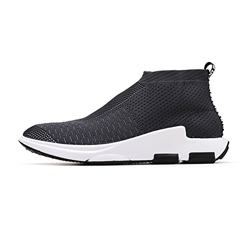 KONHILL Herren leichte Casual Walking High Top Söckchen Schuhe Breathable Knit Sneaker 896 Grau