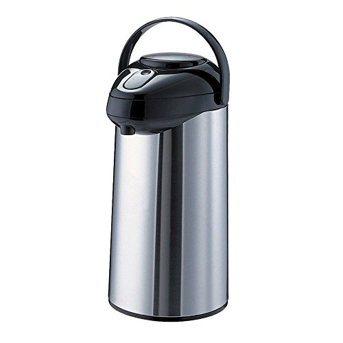 Service Ideas GLAP300 SteelVac Premium Airpot, Glass Lined with Pump Lid, 3.0 Liter (101.4 oz.), Brushed Stainless/Black Accents
